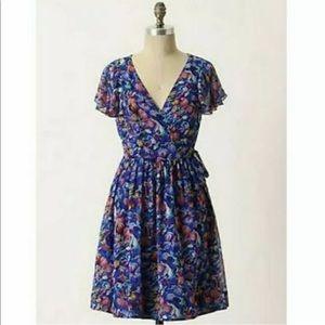 Moulinette Seours 10 Blooming Sapphire Silk Dress